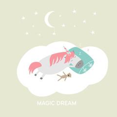 Cute cartoon hand drawn sleeping unicorn illustration. Vector magic dreams card.