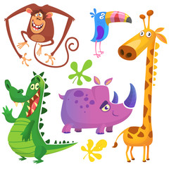 Cartoon African savanna animal set. Big collection of cartoon jungle animals. Vector illustration. Crocodile alligator, giraffe, monkey chimpanzee, toucan and rhino