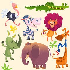 Cartoon African savanna animal set. Wild animals icon collections. Set of cartoon jungle animals flat vector illustration. Crocodile alligator, giraffe, rhino, zebra, ostrich, lion and elephant