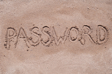"Handwritten word ""PASSWORD"" on brown sand on the beach in sunny day"