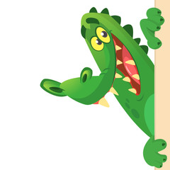 Cartoon crocodile or alligator holding and looking over a blank sign board. Vector illustration