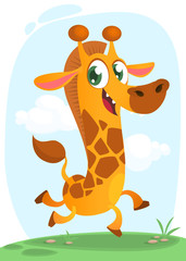 Cool giraffe running. Cartoon vector illustration of excited giraffe running over a simple savanna background. Isolated.