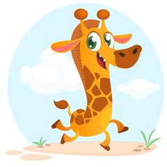 Cool cartoon giraffe. Vector illustration.