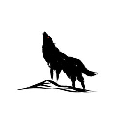 Vector isolated howling wolf with oriental strokes style