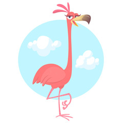 Cool pretty cartoon pink flamingo. Vector illustration isolated. Poster design of sticker