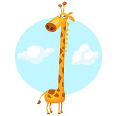 Pretty giraffe cartoon. Vector illustration isolated