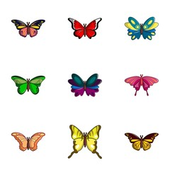 Colored butterfly icons set, flat style