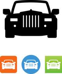 Luxury Car Front View Icon - Illustration