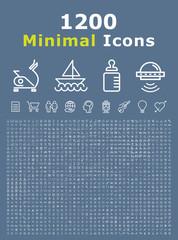 Set of 1200 Minimal White Icons ( Isolated Elements )