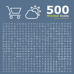 Set of 500 Standard Universal Minimalistic Elegant Modern High Quality Thin Line Icons