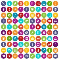 100 paint school icons set color
