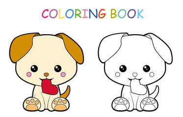 Coloring page of cute little puppy with love for preschool kids activity educational worksheet. Vector artwork