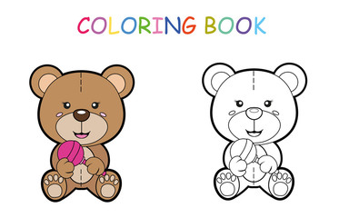 Coloring page of cute little bear with toy for preschool kids activity educational worksheet. Vector artwork