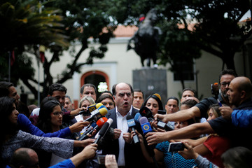 President of the National Assembly and lawmaker of MUD Borges speaks during a news conference in Caracas