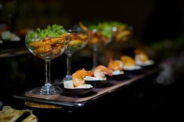 cocktail food buffet. catering. dessert
