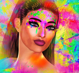 Colorful pop art image of woman's face with wet paint splatter and abstract background.