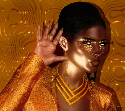 African American Fashion Beauty. Perfect for expressing themes of  fashion, diversity, hairstyles, beauty and makeup. A colorful abstract background enhances the scene. 3d digital art render