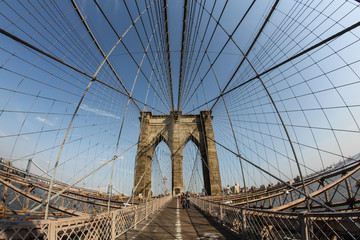 New York: Fisheye view of the Brooklyn Bridge viewing Brooklyn