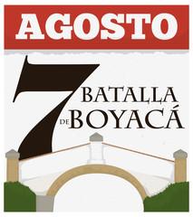 Loose-leaf Calendar with Boyaca Bridge Design for Colombian National Day, Vector Illustration