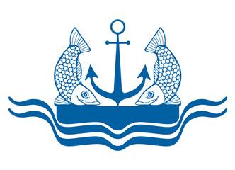 Логотип синего цвета с изображением двух рыб, якоря, причала и волн.