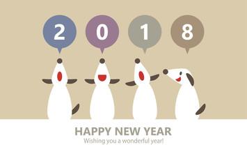 4 Dogs Happy New Year 2018 Horizontally