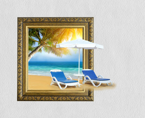 Tropical beach with chair on sand and palm tree in frame with 3d effect