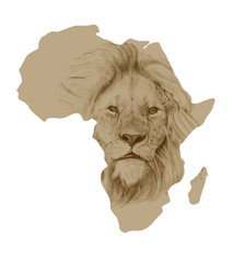 Map of Africa with drawn lion