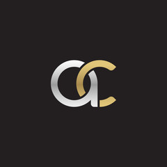 Initial lowercase letter ac, linked overlapping circle chain shape logo, silver gold colors on black background