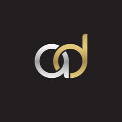 Initial lowercase letter ad, linked overlapping circle chain shape logo, silver gold colors on black background
