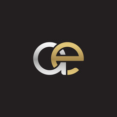 Initial lowercase letter ae, linked overlapping circle chain shape logo, silver gold colors on black background