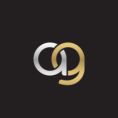 Initial lowercase letter ag, linked overlapping circle chain shape logo, silver gold colors on black background