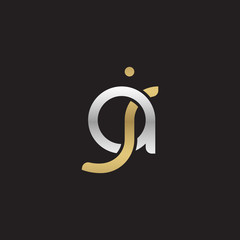 Initial lowercase letter aj, linked overlapping circle chain shape logo, silver gold colors on black background