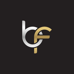 Initial lowercase letter bf, linked overlapping circle chain shape logo, silver gold colors on black background