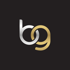 Initial lowercase letter bg, linked overlapping circle chain shape logo, silver gold colors on black background
