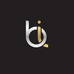 Initial lowercase letter bi, linked overlapping circle chain shape logo, silver gold colors on black background