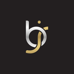 Initial lowercase letter bj, linked overlapping circle chain shape logo, silver gold colors on black background