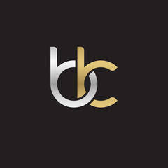Initial lowercase letter bk, linked overlapping circle chain shape logo, silver gold colors on black background