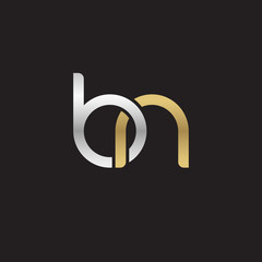Initial lowercase letter bn, linked overlapping circle chain shape logo, silver gold colors on black background
