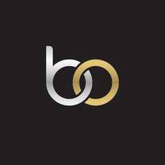 Initial lowercase letter bo, linked overlapping circle chain shape logo, silver gold colors on black background