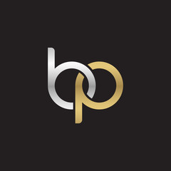 Initial lowercase letter bp, linked overlapping circle chain shape logo, silver gold colors on black background