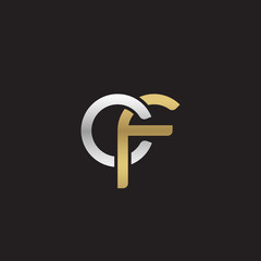 Initial lowercase letter cf, linked overlapping circle chain shape logo, silver gold colors on black background