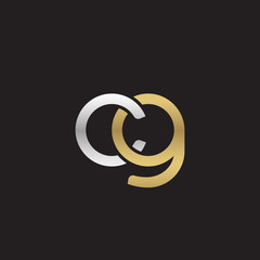 Initial lowercase letter cg, linked overlapping circle chain shape logo, silver gold colors on black background