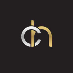 Initial lowercase letter ch, linked overlapping circle chain shape logo, silver gold colors on black background