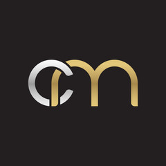Initial lowercase letter cm, linked overlapping circle chain shape logo, silver gold colors on black background