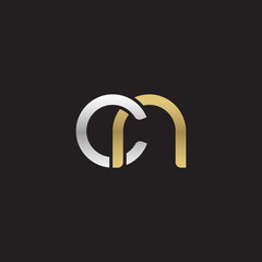 Initial lowercase letter cn, linked overlapping circle chain shape logo, silver gold colors on black background