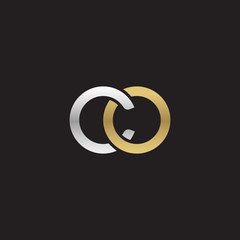 Initial lowercase letter co, linked overlapping circle chain shape logo, silver gold colors on black background