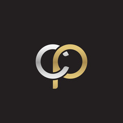Initial lowercase letter cp, linked overlapping circle chain shape logo, silver gold colors on black background
