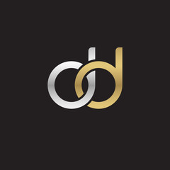 Initial lowercase letter dd, linked overlapping circle chain shape logo, silver gold colors on black background