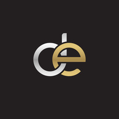 Initial lowercase letter de, linked overlapping circle chain shape logo, silver gold colors on black background