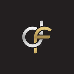 Initial lowercase letter df, linked overlapping circle chain shape logo, silver gold colors on black background
